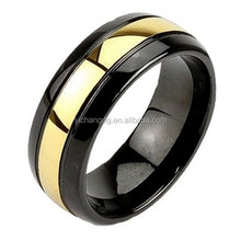 Gold Domed Tungsten Ring, Mens 8mm Black Tungsten Carbide Ring Wedding Band Domed High Polished 24k Gold Plated Center