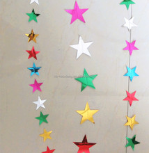 Holiday/party decoration 50mm five star shape PVC laser garlands