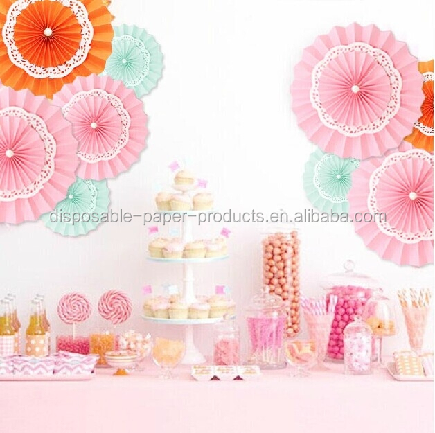 Lace paper doilies paper rosettes pinwheel backdrop for Background decoration for birthday party