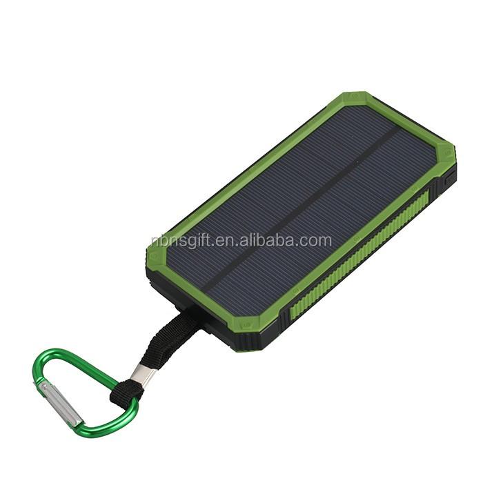 Banco de potência com forte lanterna de luz, portátil mini banco de energia solar levou 8000 mAh