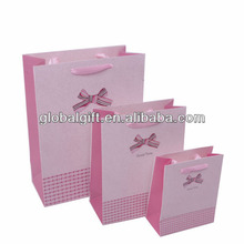 Pink shopping Paper Bags Printed Bowknot With Handles
