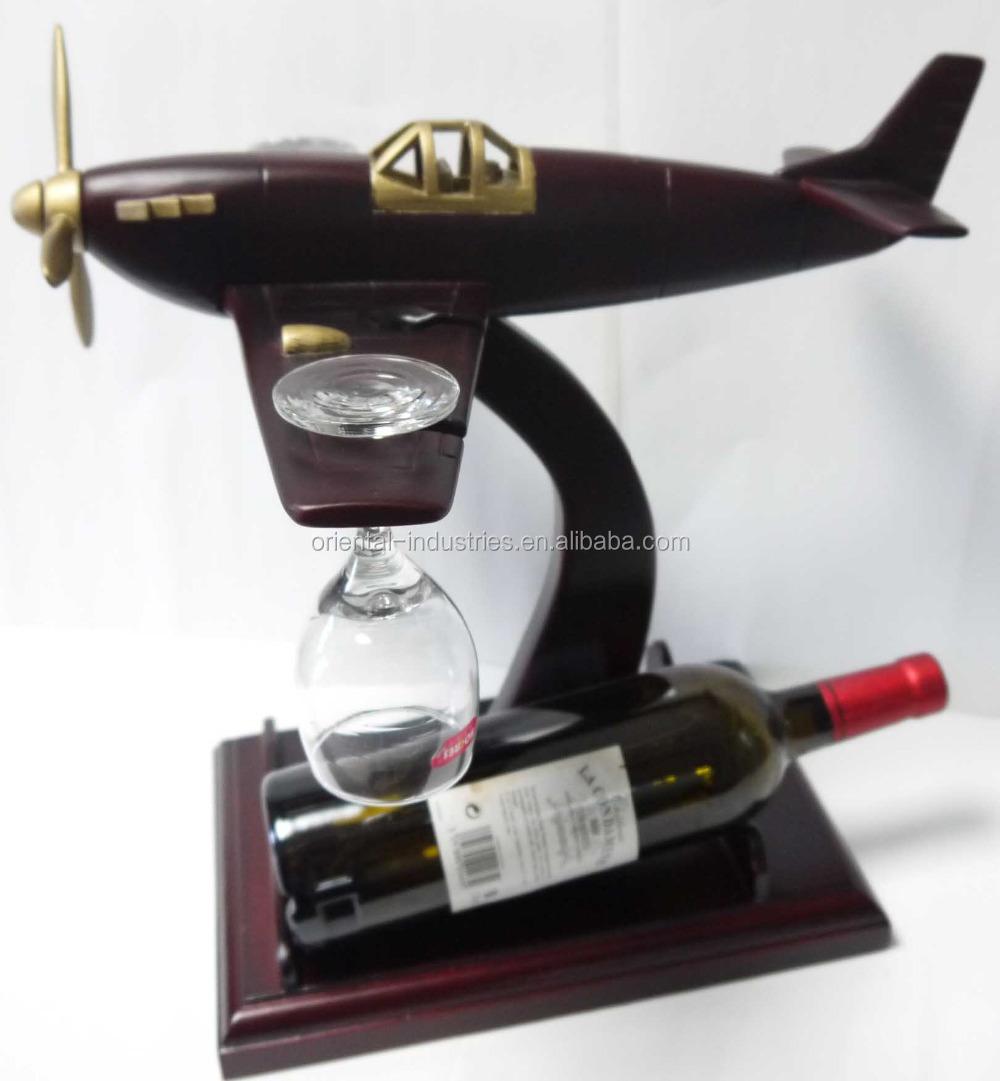 목조 와인 병 홀더- 오래된 스타일 비행기-나무 공예 -상품 ID ...