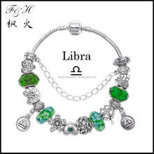 Innovative birthday gifts 12 zodiac signs Libra charms green murano glass bead fit charm bracelet jewelry wholesale