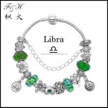 Innovative birthday gifts 12 zodiac signs Libra charms green murano glass bead fit charm bracelet jewelry wholesale