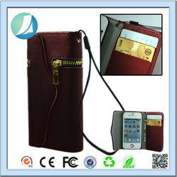 Lady's purse zipper design pu leather flip cover case for iphone 4s
