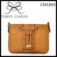 Brown Rubber String Decoration Square Women's Handbag
