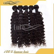 New deep wave virgin Brazilian human hair wefts hair weave ponytail