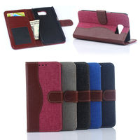 Jeans wallet leather cover case for Samsung S6, for samsung galaxy s6 case cover