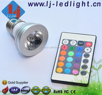Colorful 3W E27 LED Bulb 16 Colors Emitting with Remote Control for Home or Showcase Use