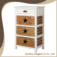 Wooden vintage French style chest of drawers with three basket