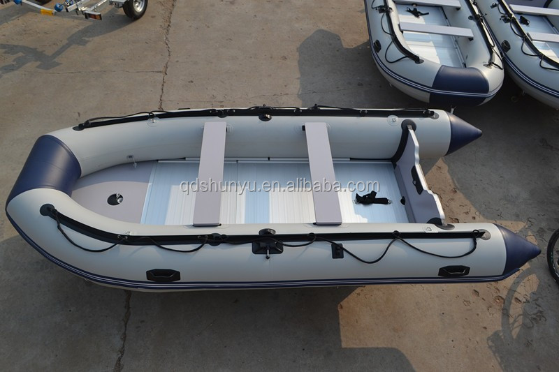 Inflatable Fishing Boat With Outboard Motor View
