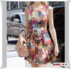 2015 Summer Autumn New Europen Women Casual Dress Floral Print Sleeveless Flared Beach Party Dress