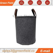 Large round laundry bag baskets, leather handle round laundry bag basket