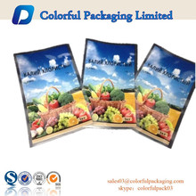 Transparent resealable food grade plastic bags/3 side seal bags for nuts with euro-slot&beautiful printing&window