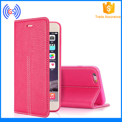 China Supplier Desk Stand Flip Leather Skin Cover for Iphone 6S Plus Shenzhen Phone Cases