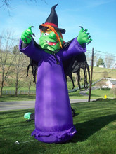 RARE Halloween INFLATABLES 12Ft. LIGHT-UP WITCH With CAPE