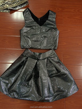 2015 ladies jacquard woven shiny top /skirt set