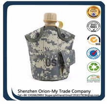 Military water bottle Army Bottle With Water Canteen Pu leather Cover factory manufacturer