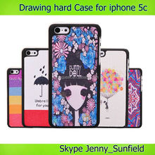 Mobile phone case Cartoon drawing print hard crystal case for iphone 5c, for iphone 5c case cover,for iphone 5c cover hard
