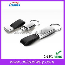 USB2.0 interface type leather usb key,grade A leather&metal usb keyring