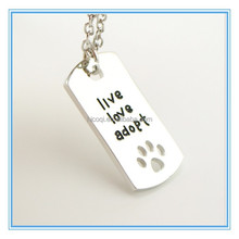 "2015 new Rectangular Dog Tag Style Pendant Necklace Cat Dogs "" live love adopt "" Pet Rescue Paw Print Tag Wholesale Jewelry"