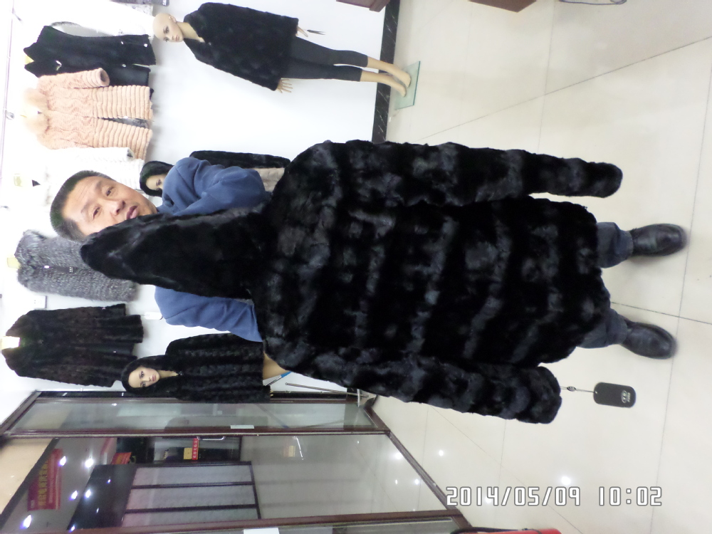 Horizontal lines and vertical stripes minks head of long black  fur coat  with hat