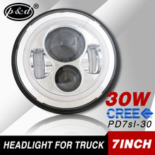 Promotion 30w 7 Inch Round Led Headlight With Angel Eyes For Jeep Wrangler