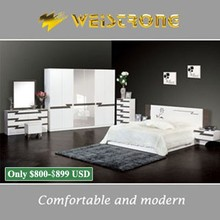 Chinese cheap furniture white color king bedroom set with 6 door wardobe and makeup dresser in Guangzhou furniture market