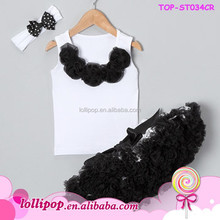 2015 wholesale black polka dots tops with pettiskirt outfits baby girls clothing set boutique