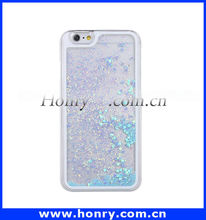 Wholesale Bling Phone Case Cover For iPhone 6 Liquid Glitter heart design Case