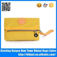 Fashion women shoulder nylon yellow handbag purse with rubber logo for phone and wallet