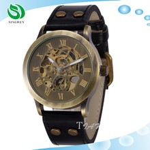 2015 new Vintage bronze Automatic Mens Leather mechanical skeleton Watch