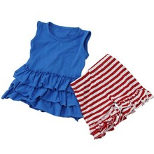 2015 Cute Sweet Child Girls Boutique Clothing Baby Girl USA Sports Clothing