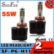 Best price P6 led headlight 12v 55w 5500lm H8 H9 H10 H11 led lighting headlight bulbs auto fog lamp with canbus