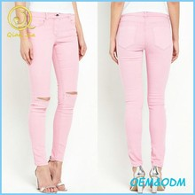 Women Wear Jeans Knee Destroyed Skinny Jeans
