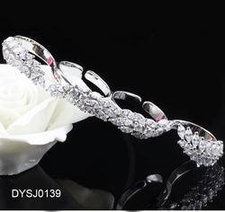 Stunning 925 Silver Women's Fancy Rings , Special Birthday Gift for Her, Rhodium Plating CZ Four Finger Ring Jewelry