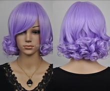 NEW light purple short curly cosplay wigs W2062