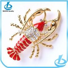 Fashion gold jewelry rhinestone diamond red enamel elegant lobster brooch