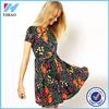 Latest Fashion Women Summer Vestidos Floral Print Vintage A-Line Skater Dress Party Mini Dress