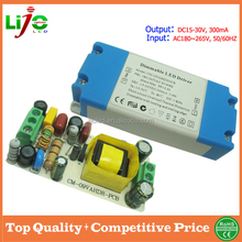 ac180~265v input 5-9w 300ma 15-30Vdc output dimmable led driver with plastic cover for led driver control