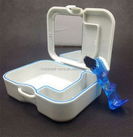 Dental Plastic Denture Box with Mirror and Brush colorful retainer case