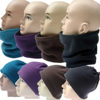 Fashion New Unisex 3-in-1 Winter Hat Snood Polar Fleece Snood Hat Neck Warmer Ski Scarf Beanie Balaclava Face Mask
