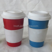 color glazed lastest ceramic coffee mug with silicone lid and sleeve