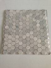 "Carrara Marble Italian White Bianco Carrera 1"" Hexagon Mosaic Tile"