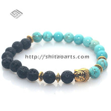 Morden Beaded bracelet,Unisex Lava And Turquoise Stone Bracelet,Antique Golden Buddha Bracelet