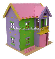 DIY 3D foam doll puzzle house for kids