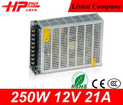 New arrival Guangzhou manufacturer Ce Rohs approved ac dc single output constant voltage 250w 12v switching model power supply