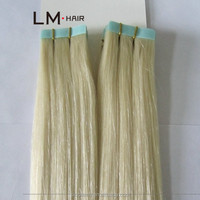 613# 100%pure european hair PU weft extension by italian strong white tape, indian human tape hair weft