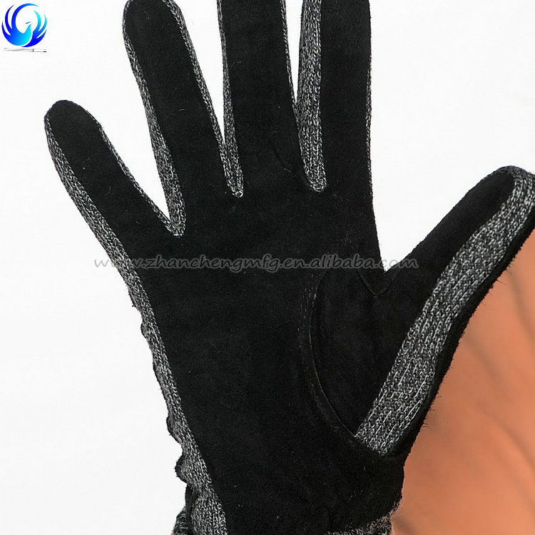 Fashion Women Winter Warm Lambskin Gloves Leather Back with Sheep Suede