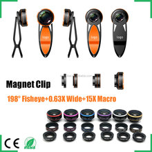 2016 top selling mobile phone accessories 198 degree fisheye lens ultra wide angle lens 15x macro 3-in-1 magnetic camera lens